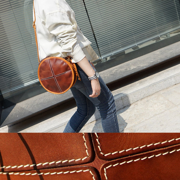 Womens Tan Leather Circle Bag Round Purse Over The Shoulder Purse for Women Chic