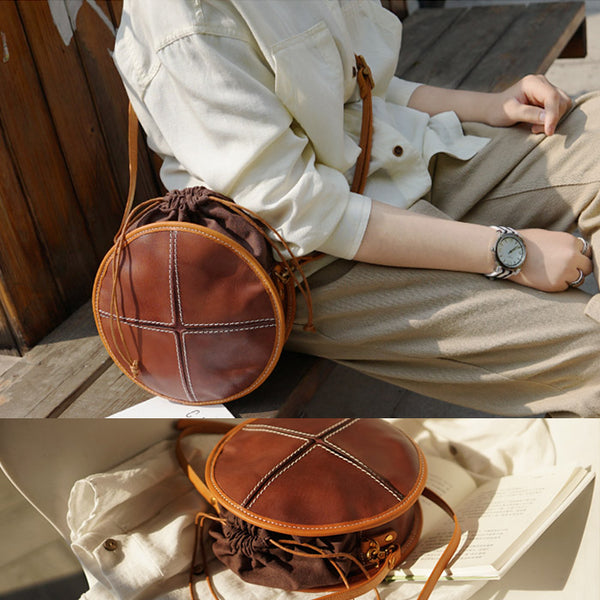 Womens Tan Leather Circle Bag Round Purse Over The Shoulder Purse for Women beautiful