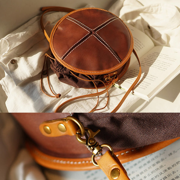 Womens Tan Leather Circle Bag Round Purse Over The Shoulder Purse for Women best