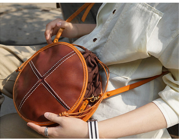 Womens Tan Leather Circle Bag Round Purse Over The Shoulder Purse for Women cowhide