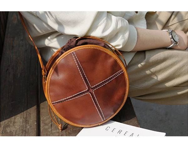 Womens Tan Leather Circle Bag Round Purse Over The Shoulder Purse for Women cute
