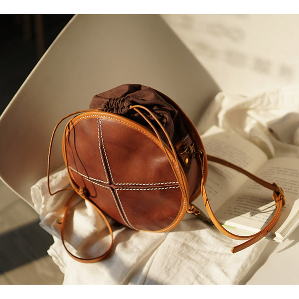 Womens Tan Leather Circle Bag Round Purse Over The Shoulder Purse for Women
