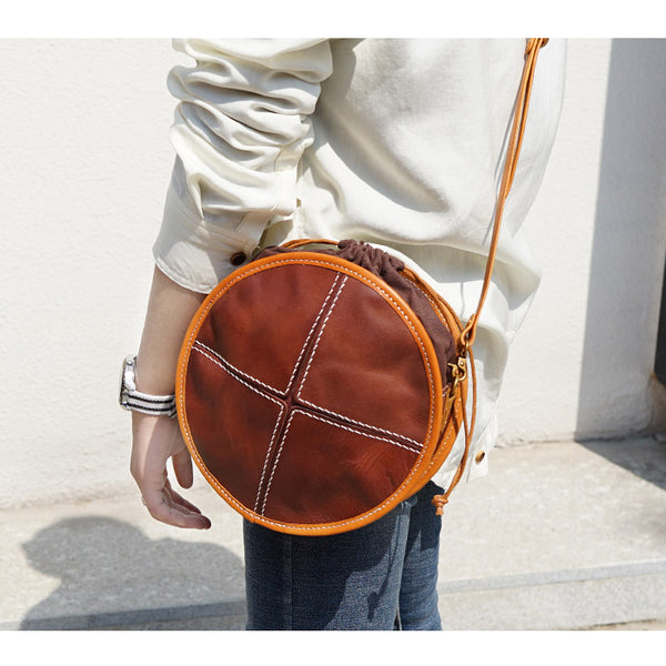 Womens Tan Leather Circle Bag Round Purse Over The Shoulder Purse