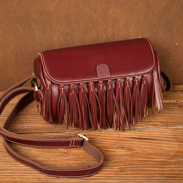 Womens Cute Leather Fringe Crossbody Bag Purse Over Shoulder Bags for Women Beautiful