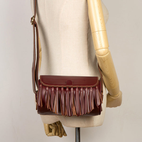 Womens Cute Leather Fringe Crossbody Bag Purse Over Shoulder Bags for Women Chic