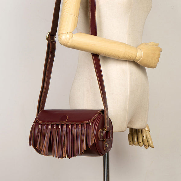 Womens Cute Leather Fringe Crossbody Bag Purse Over Shoulder Bags for Women Cool