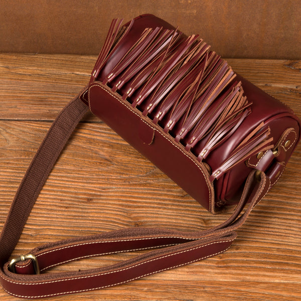 Womens Cute Leather Fringe Crossbody Bag Purse Over Shoulder Bags for Women