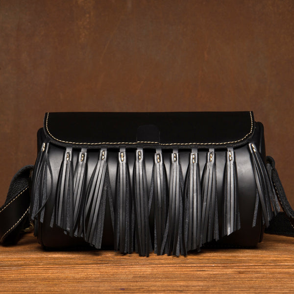 Womens Cute Leather Fringe Crossbody Bag Purse Over Shoulder Bags