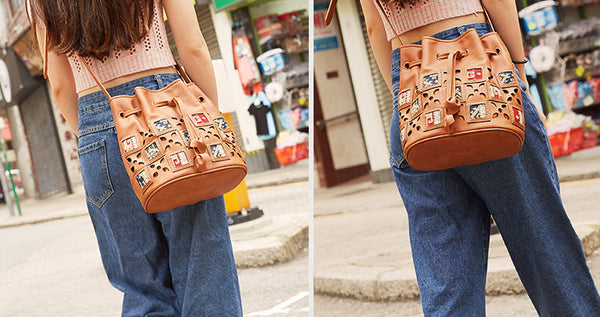 Womens Vegan Leather Boho Crossbody Bucket Bag Purse Sling Bags For Women Cool