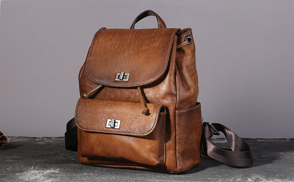 Womens Vintage Brush Off Leather Backpack Purse Rucksack Bag For Women Brown