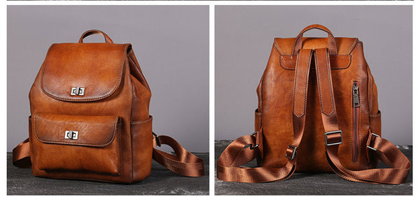 Womens Vintage Brush Off Leather Backpack Purse Rucksack Bag For Women Cool