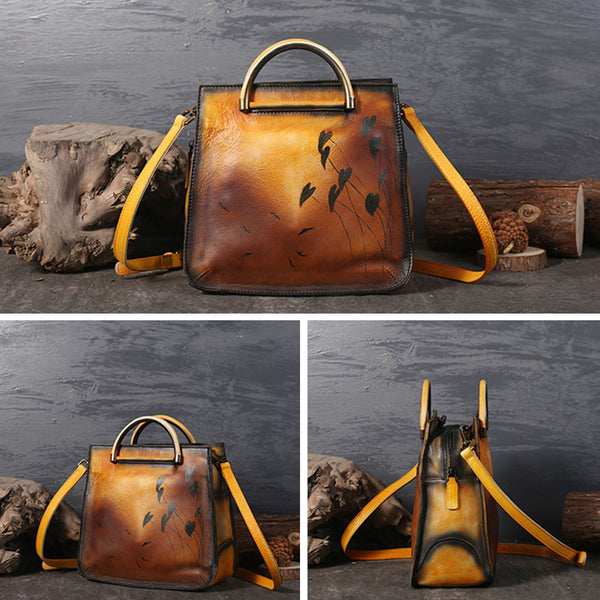 Womens Vintage Genuine Leather Crossbody Bag Purse Handbags For Women Chic