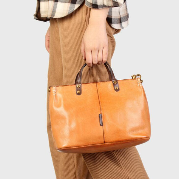 Womens Vintage Leather Handbags Over The Shoulder Purse For Women