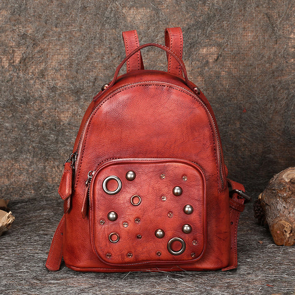 Vintage Womens Red Leather Backpack Purse Small Backpacks for Women