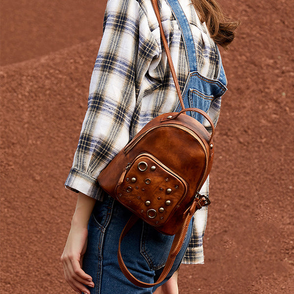 Womens Vintage Leather Small Backpack Purse Cool Backpacks for Women Brown