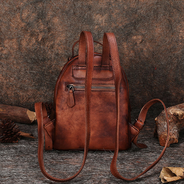 Womens Vintage Leather Small Backpack Purse Cool Backpacks for Women Designer