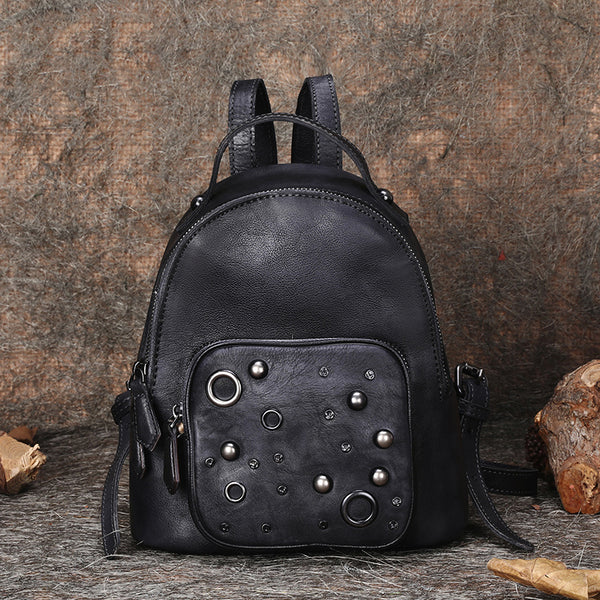 Womens Vintage Leather Small Backpack Purse Cool Backpacks for Women beautiful