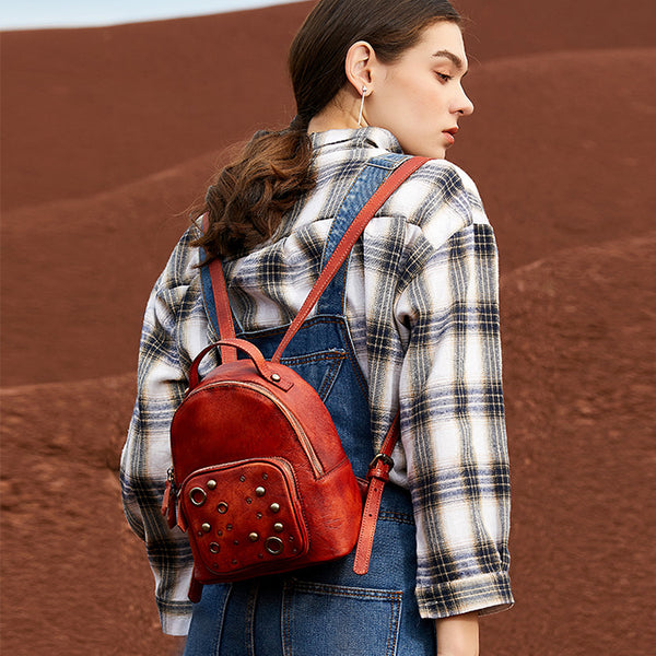 Womens Vintage Leather Small Backpack Purse Cool Backpacks for Women cowhide