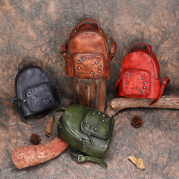 Womens Vintage Leather Small Backpack Purse Cool Backpacks for Women cute