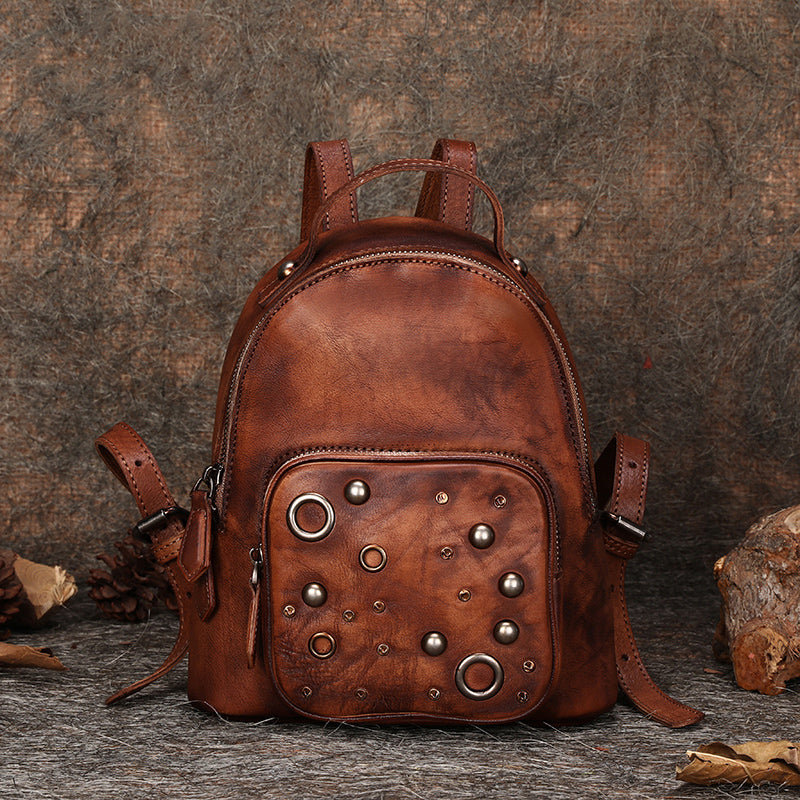 Womens Vintage Leather Small Backpack Purse Cool Backpacks for Women