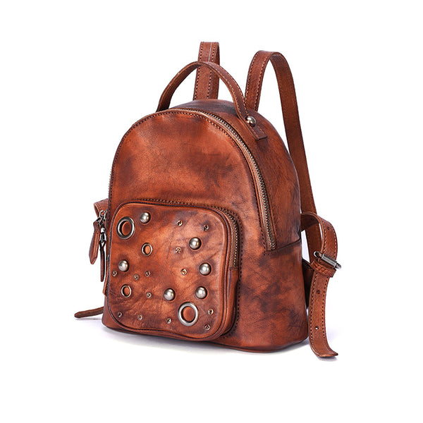 Womens Vintage Leather Small Backpack Purse