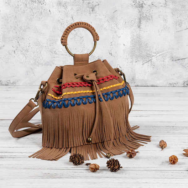 Womens Western Vegan Leather Fringe Crossbody Purse Hobo Bucket Bag for Women Accessories