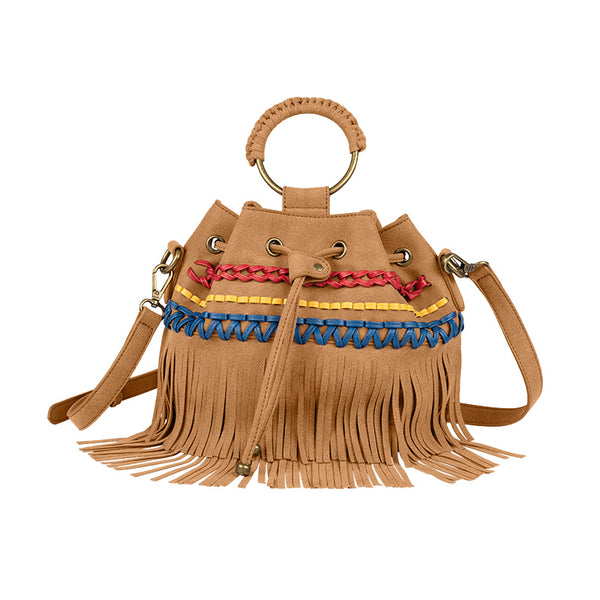 Womens Western Vegan Leather Fringe Crossbody Purse Hobo Bucket Bag for Women Beautiful
