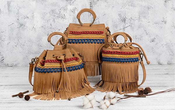 Womens Western Vegan Leather Fringe Crossbody Purse Hobo Bucket Bag for Women Brown