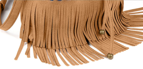 Womens Western Vegan Leather Fringe Crossbody Purse Hobo Bucket Bag for Women Chic