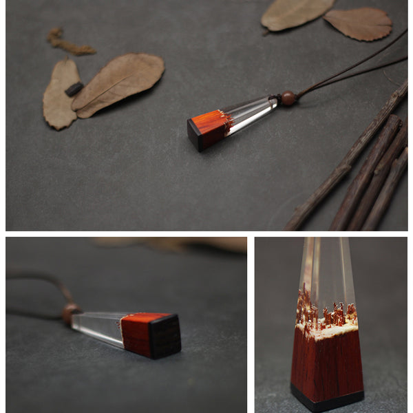 Wood Resin Pendant Necklace Unique Handmade Couple Jewelry Accessories Women Men datails