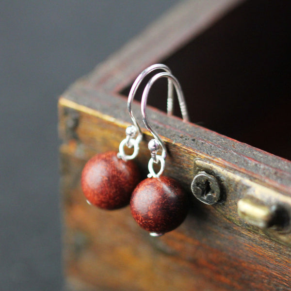 Wooden Dangle Hook Earrings Sterling Silver Handmade Jewelry Accessories Gift Women beautiful