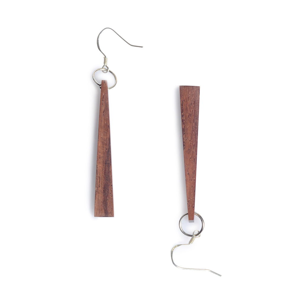 Wooden Drop Earrings Silver Handmade Jewelry Accessories Women men