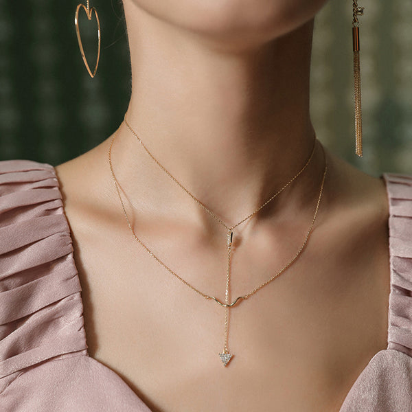 Double Strand Y-Necklace with Gold Plated Arrow Fashion Jewelry Accessories for Women