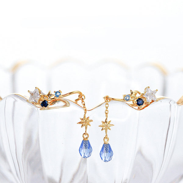 Blue Zircon Drop Earrings Clip Earrings Gold Plated Silver Handmade Chic Jewelry For Women