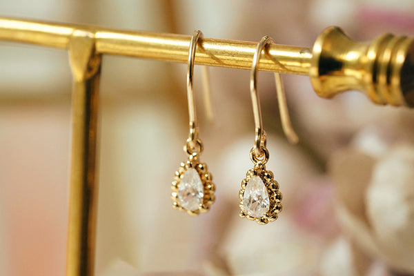 Zircon Drop Dangle Earrings Gold Plated Jewelry Accessories Women chic