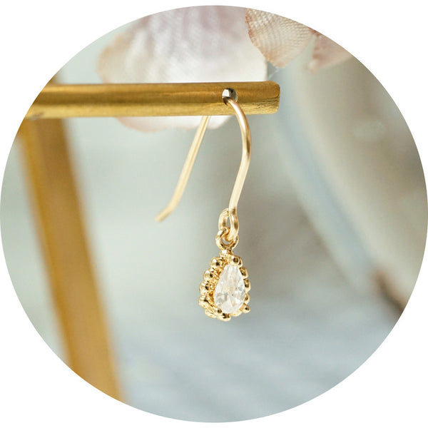 Zircon Drop Dangle Earrings 14K Gold Plated Jewelry Accessories For Women