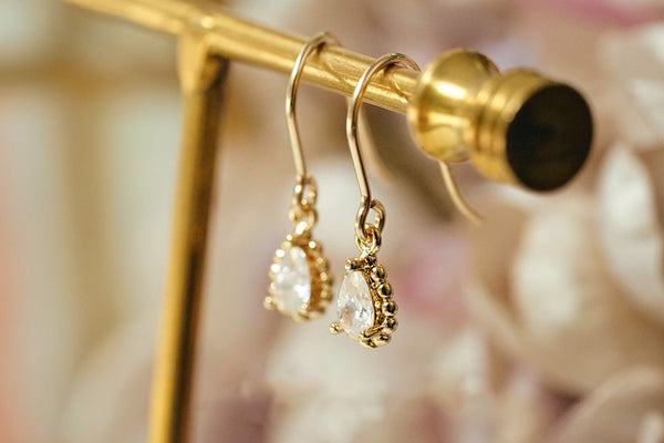 Zircon Drop Dangle Earrings Gold Plated Jewelry Accessories Women fashionable