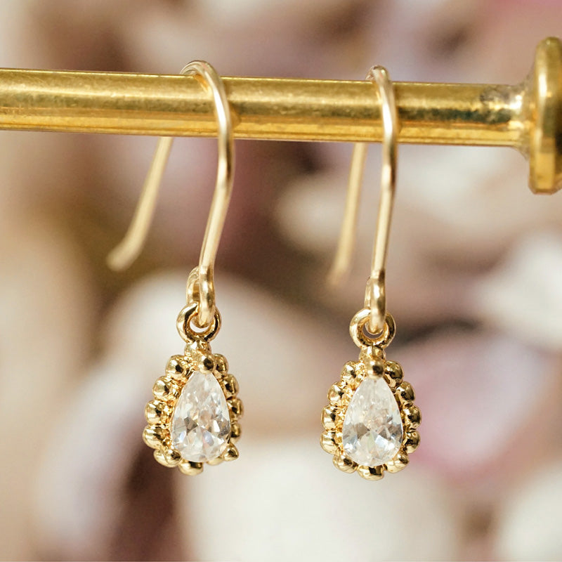 Zircon Drop Dangle Earrings Gold Plated Jewelry Accessories Women