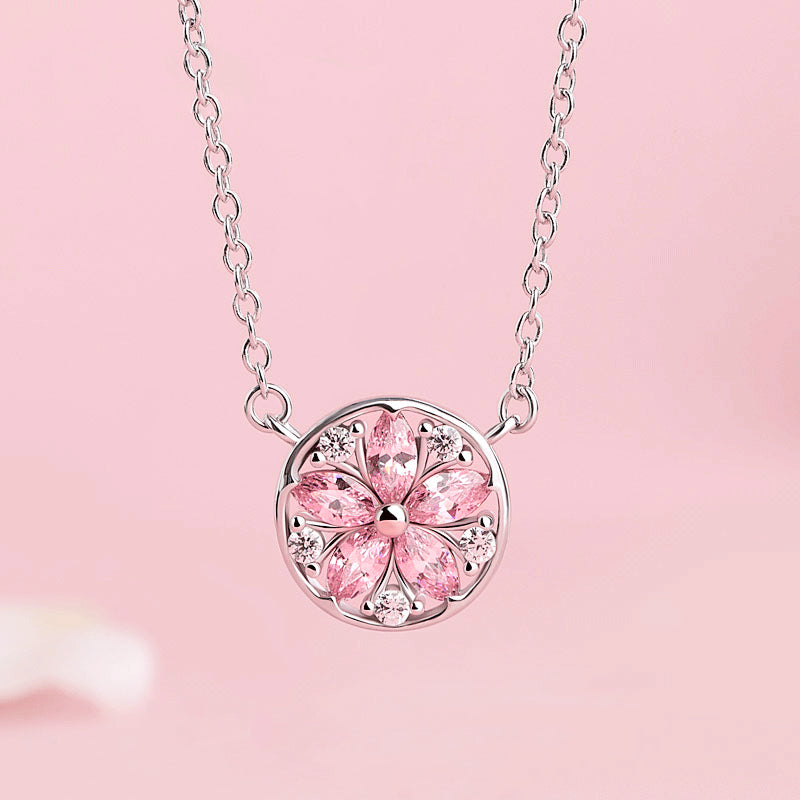 Zircon Pendant Necklace Silver Gemstone Jewelry Accessories Gifts Women Sakura