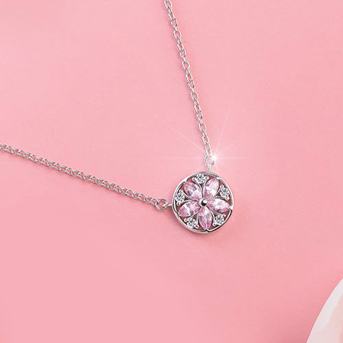 Zircon Pendant Necklace Silver Gemstone Jewelry Accessories Gifts Women bling