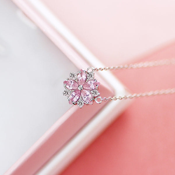 Zircon Pendant Necklace Silver Gemstone Jewelry Accessories Gifts Women pink