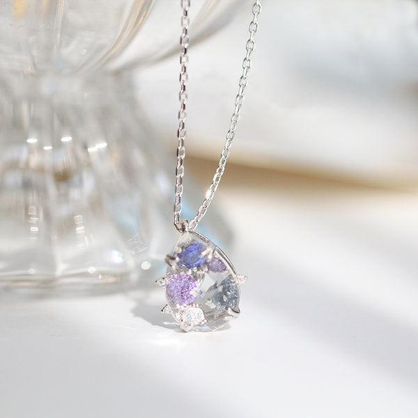 Zircon White Quartz Crystal Teardrop Pendant Necklace Gold Silver Jewelry Women beautiful