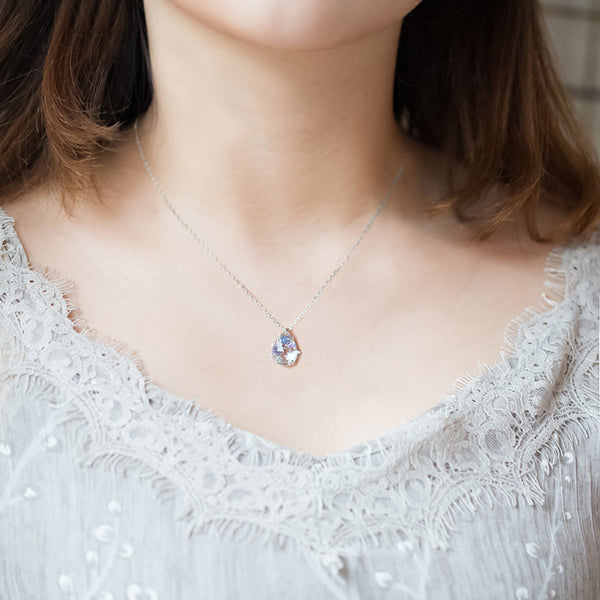 Zircon White Quartz Crystal Teardrop Pendant Necklace Gold Silver Jewelry Women chic