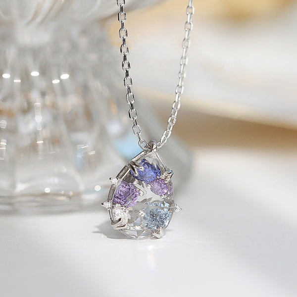 Purple Zircon and White Quartz Crystal Teardrop Pendant Necklace Gold Plated Silver Jewelry Women