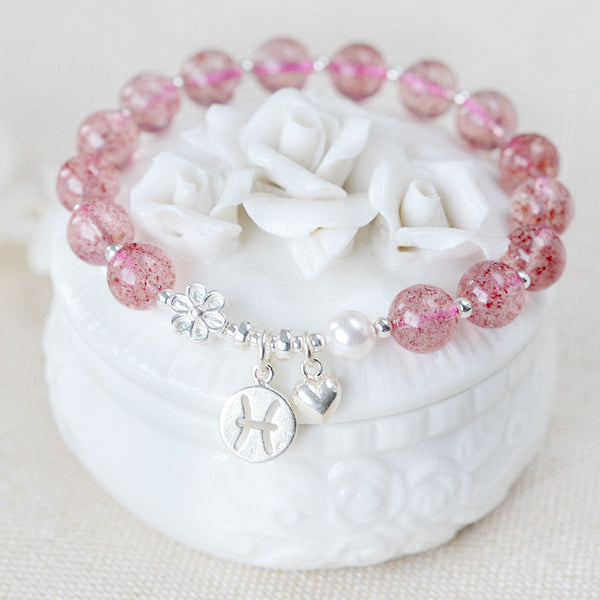 Zodiac Strawberry Quartz Bead Bracelets Handmade Jewelry Women adorable