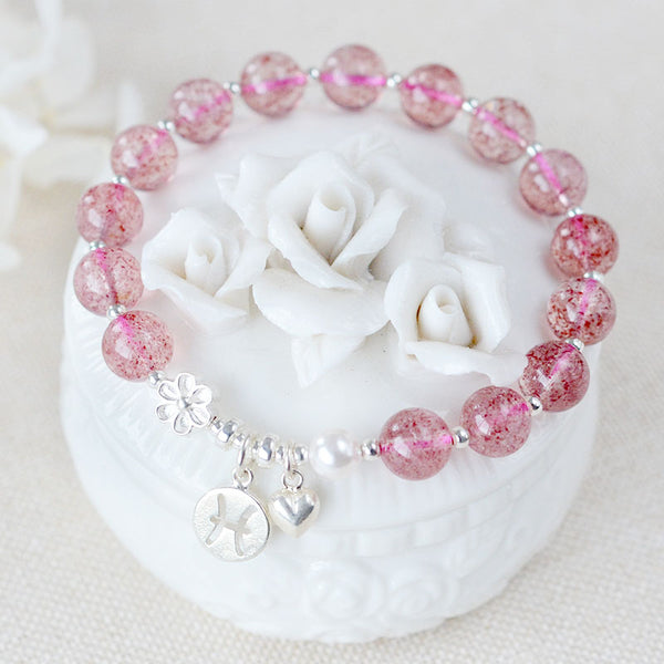 Zodiac Strawberry Quartz Bead Bracelets Handmade Jewelry Women beautiful