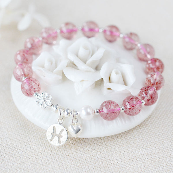 Zodiac Strawberry Quartz Bead Bracelets Handmade Jewelry Women cute