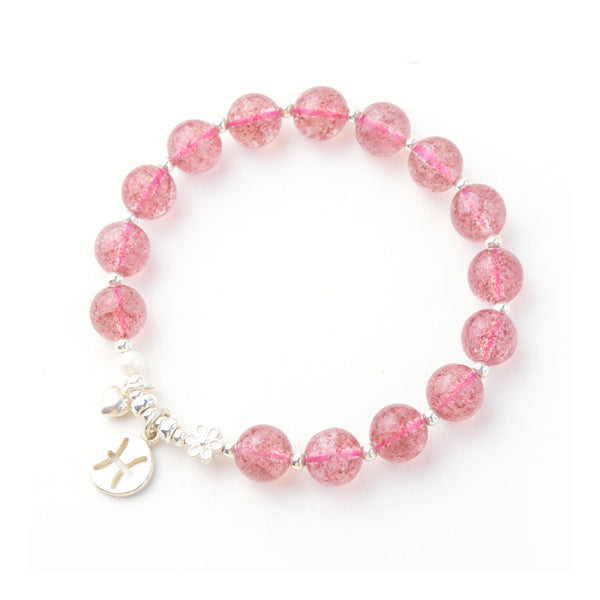 Zodiac Strawberry Quartz Bead Bracelets Handmade Jewelry Women