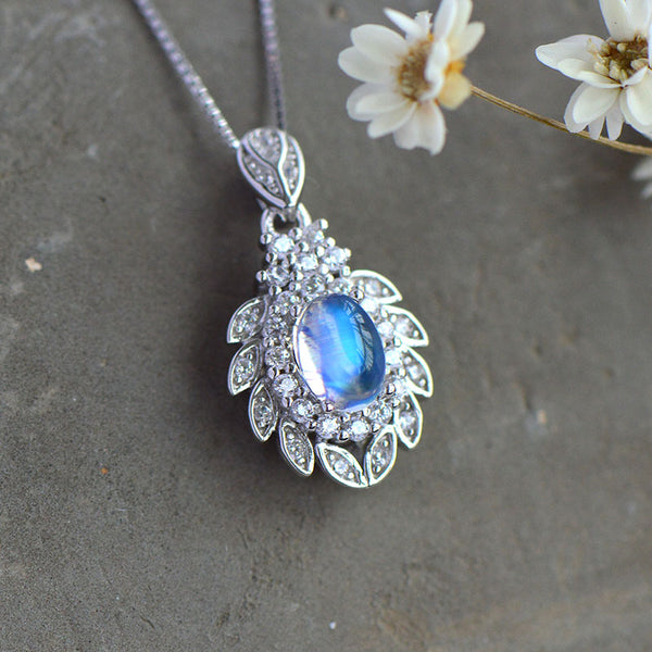 blue Moonstone Pendant Necklace Gold Sterling Silver Jewelry Women Accessories