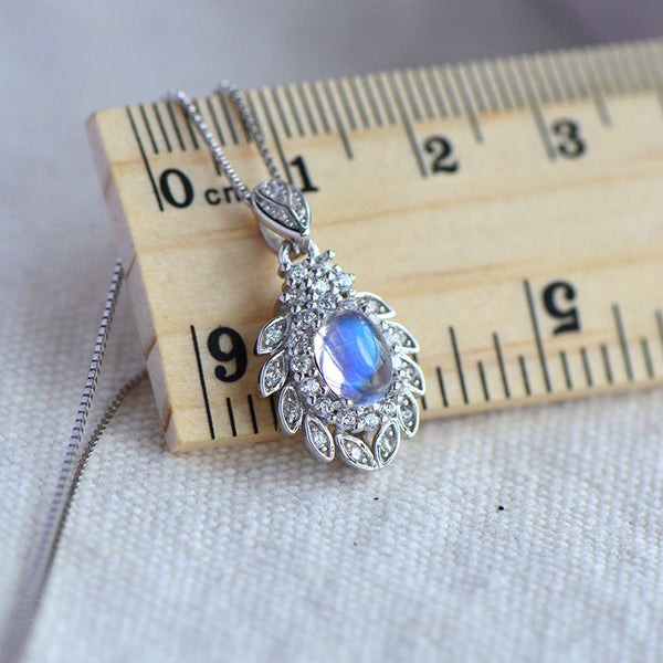 blue Moonstone Pendant Necklace Gold Sterling Silver Jewelry Women charming